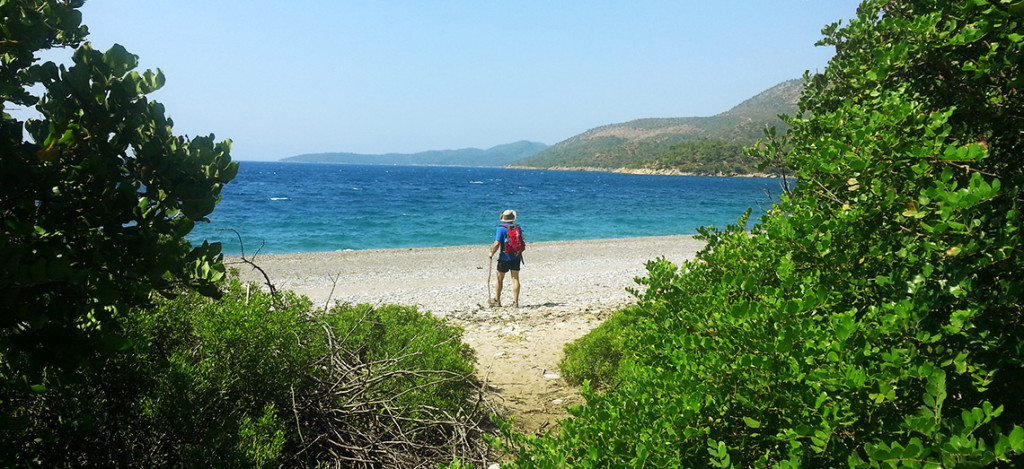Lycian Way hiker on beach
