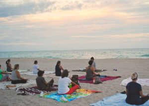 yoga group beach Turkey