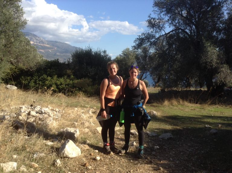 Girls hiking on The Lycian Way route