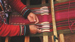 weaving woman